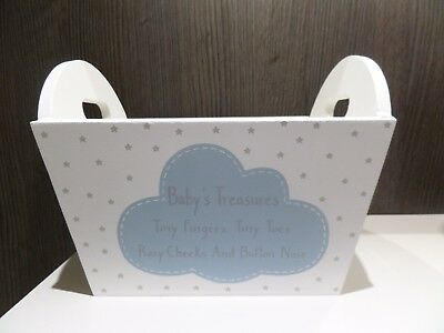 Baby's Blue & White Wooden Nursery Crate