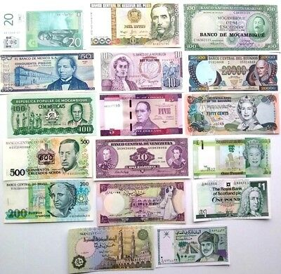 Bank note 1961 - 1979 -up  world mixed paper money lot of (17) AS IS number