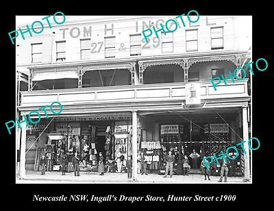 OLD LARGE HISTORIC PHOTO OF NEWCASTLE NSW, INGALLS DRAPER STORE, HUNTER St c1900