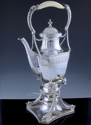 Incredible Antique German Solid Silver Dolphin Figural Tipping Kettle On Stand