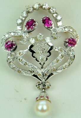 Vintage 14k Gold Diamond and Ruby Brooch NR