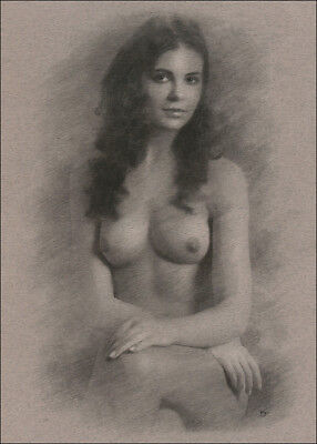 Female Nude DRAWING Charcoal Chalk ORIGINAL Art naked lady sitting NO RESERVE nr