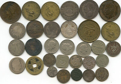 Lot of 31 Various Foreign  Coins Non-Graded As Found