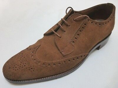 LOTUS ENGLISH BENCH MADE SUEDE BROGUES 1940s / 50s CC41 ERA SHOES 8 / 7 .5 VTG
