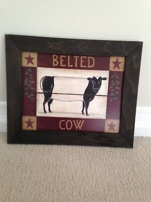 Framed Wooden Belted Cow Wall Hanging