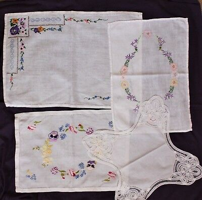 Lot Of 4 Pretty Vintage Hand Embroidered Linen Tray-Cloths