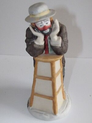 """Musical windup Emmett Kelly limited edition figurine by Flambro--8"""" tall"""