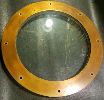 "Antique Ship Porthole Vintage Bronze or Brass 13"" Boat Window Maritime Glass 10"""