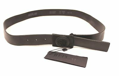 3dc5b7392dc182 Replay Men s Leather Belt w  Embossed Logo Pin Buckle TW4 Black Size 100cm