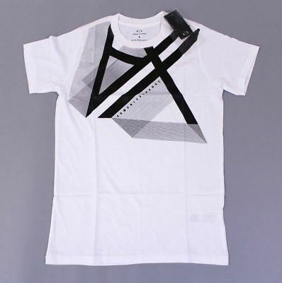 Armani Exchange Mens Right Side Up Logo S/S Graphic T-Shirt HD3 White Small NWT