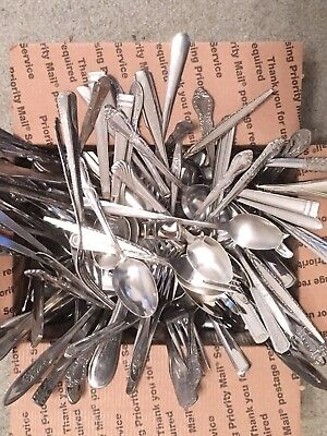 160 Vtg Mixed Flatware LOT Mixed Spoons Forks Floral Silverware CRAFTS F Ship