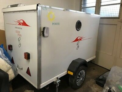 LITTLE USED MICRO CARAVAN SLEEPING POD,with SOLAR POWER/STORAGE,TV DVD, AC power