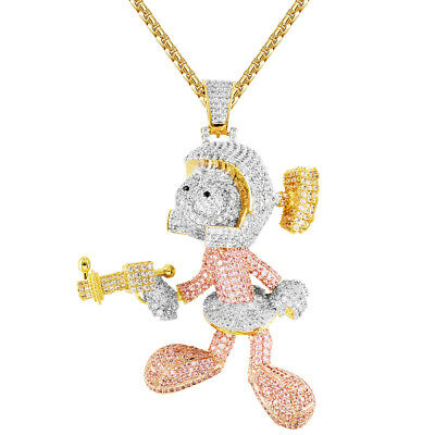 b34d48ebc2c17 MENS CUSTOM CARTOON Character Super Saiyan Pendant Iced Out 14k Gold ...