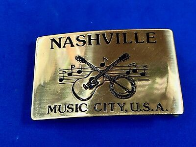 RARE VINTAGE NASHVILLE MUSIC CITY.USA BRASS Tone or Real? BELT BUCKLE.  HEAVY