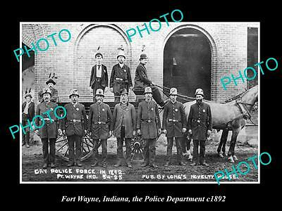 OLD LARGE HISTORIC PHOTO OF FORT WAYNE INDIANA, THE POLICE DEPARTMENT c1892
