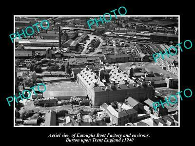 Old Large Historic Photo Aerial View Boot Factory Burton Upon Trent England 1940
