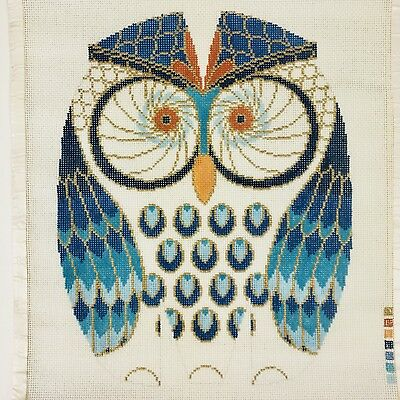 """Lee Big Owl in Turquoise Blue Navy Gold Handpainted Needlepoint Canvas 10""""x13"""""""