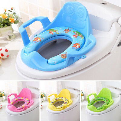 Kids Toilet Seat Baby Toddler Potty Training Trainer Non Slip Safety Handle Tool
