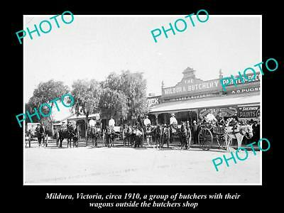 OLD LARGE HISTORICAL PHOTO OF MILDURA VICTORIA, VIEW OF THE BUTCHER SHOP c1910