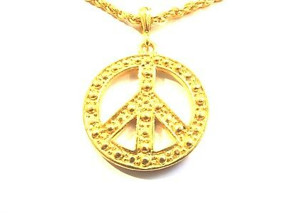 """Large Gold Peace Sign Symbol Pendant Necklace (40mm) - Gold Chain (25"""")"""