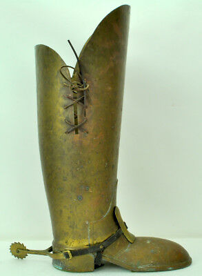 "Antique Umbrella Stand Spanish Boot Shape Handmade Turn of Century 22.5"" NR"