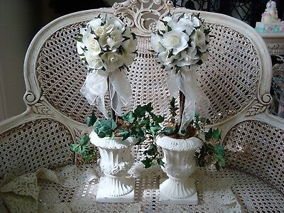 Set Of 2 Beautiful Roses Flower Topiaries In Shabby Urns ***elegant****