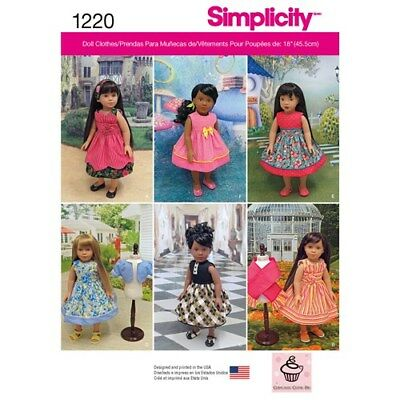 """NEW Simplicity sewing 1220 Pattern vintage dresses  Fits 18"""" Girl Doll clothes"""