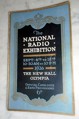 NATIONAL RADIO EXHIBITION 1926 (the first in GB) Official Catalogue & Band Prog