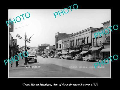 OLD LARGE HISTORIC PHOTO OF GRAND HAVEN MICHIGAN, THE MAIN STREET & STORES c1950