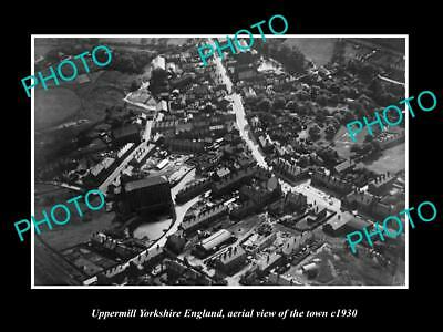 Old Large Historic Photo Of Uppermill Yorkshire England, Town Aerial View 1930 2