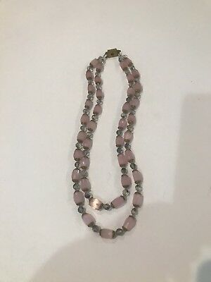 1920s Vintage Art Deco Double Strand Necklace Of Pink Czech Glass Beads