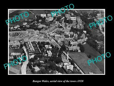 OLD LARGE HISTORIC PHOTO OF BANGOR WALES, AERIAL VIEW OF THE TOWN c1920 2