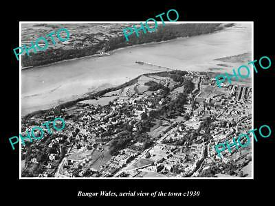 OLD LARGE HISTORIC PHOTO OF BANGOR WALES, AERIAL VIEW OF THE TOWN c1930 3
