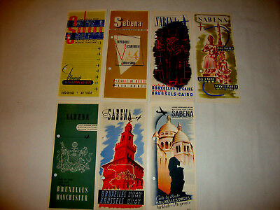 Lot 7 Sabena Belgium World Airline Map Carte Air Route.