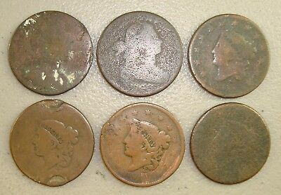 Lot of (6) Early Coppers; Colonial, Draped Bust Cent, & Coronet Head Cent Culls