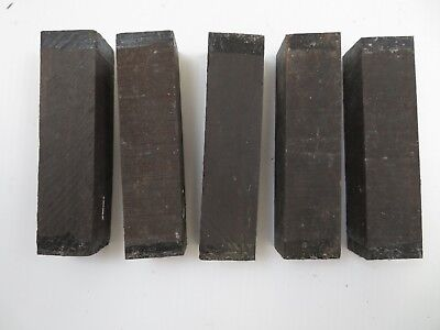 "(5)  Lot Of  5,  Indian Ebony Jet Black  Wood Turning Blanks 1.5"" X 1.5"" X 6"""