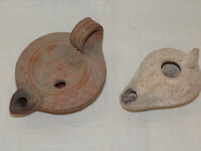 Ancient Egyptian Clay Oil Lamps, Pair of 2, Egyptian Angel Oil Lamp