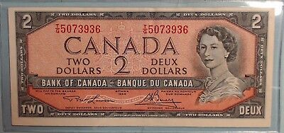 1954 Bank of Canada Canadian $2 Two Dollar Bill Note TG5073936  Circulated