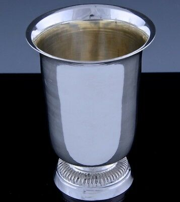 RARE LARGE 18th EARLY 19thCENT FRENCH STERLING SILVER FOOTED WINE ALE BEAKER CUP