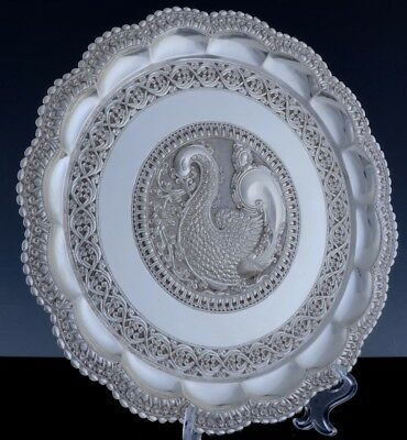 """Amazing Large Indian Sterling Silver Hand Chased Bird Figural 12"""" Serving Tray"""