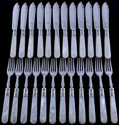 TOP QUALITY c1880 VICTORIAN MOTHER OF PEARL SILVER PLATE 24pc FISH CUTLERY SET