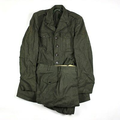 Original Us Marine Corps Usmc Forest Green Alpha Dress Jacket W/ Trousers Large