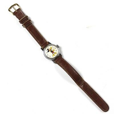 Vintage Disney Mickey Mouse Ingersoll Timex Wrist Watch Leather Band