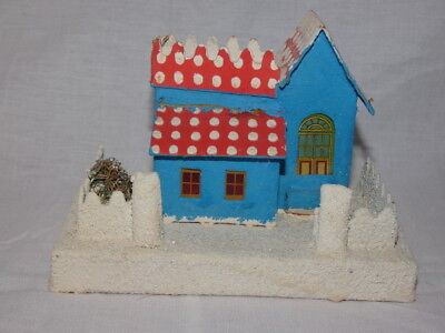 Vintage Christmas Putz Cardboard Blue House with Red and White Roof Japan