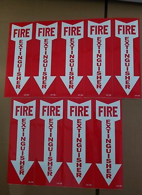 """(Lot Of 9) Self-Adhesive Vinyl """"fire Extinguisher Arrow"""" Sign's...4"""" X 12"""" New"""