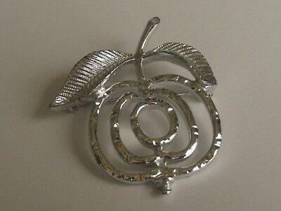 Vintage Sarah Coventry Apple Saucy Brooch~Pin~Silvertone~Signed-Circa 1960s
