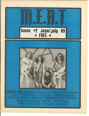 M.E.A.T Magazine July 1989 Disaster Area Issue #2 Tesla WASP Girlschool Canada