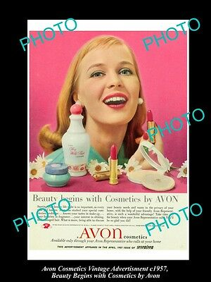 Large Historic Advertising Of Avon Cosmetics 1957, Beauty Begins With Avon