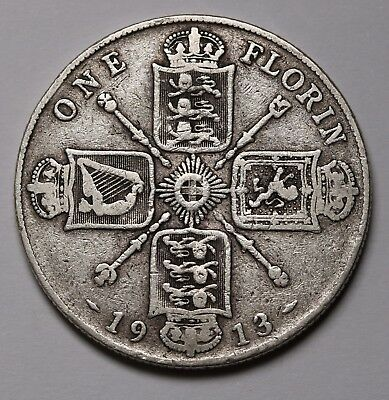 UK Great Britain Florin  2 Shillings Silver 1913 George V