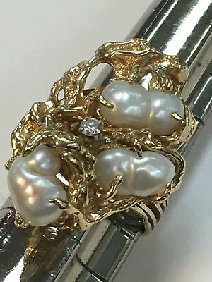 Vintage 14K Yellow Gold White FRESHWATER BAROQUE PEARLS & DIAMOND